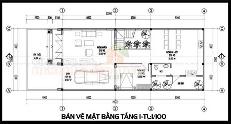 Bản vẽ phương án tầng 1:  Biệt thự by Công ty TNHH TKXD Nhà Đẹp Mới