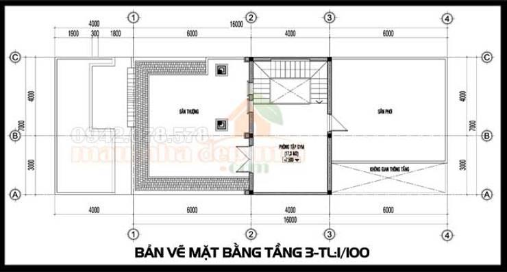 Bản vẽ phương án tầng 3:  Biệt thự by Công ty TNHH TKXD Nhà Đẹp Mới