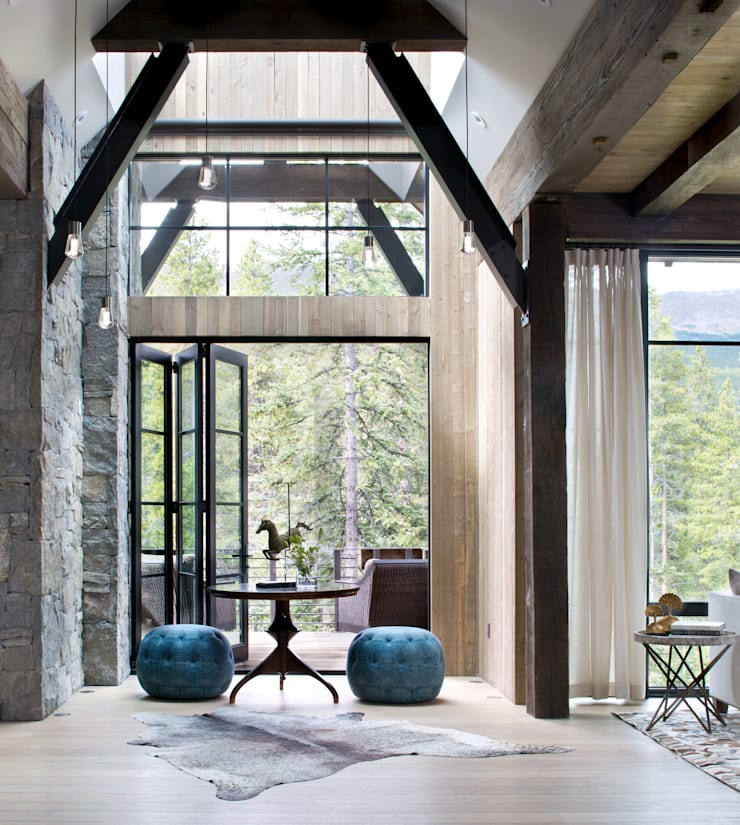 Contemporary Mountain Chalet:  Corridor & hallway by Andrea Schumacher Interiors