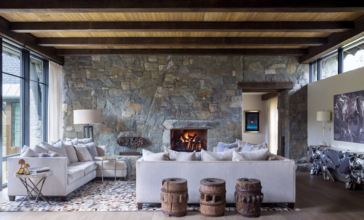 Contemporary Mountain Chalet:  Living room by Andrea Schumacher Interiors