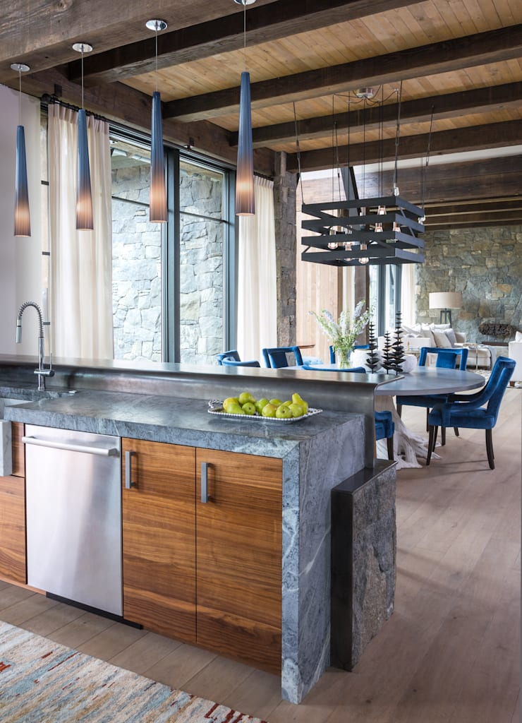 Contemporary Mountain Chalet:  Kitchen by Andrea Schumacher Interiors