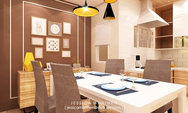 Mr S House (Emerald Town House PIK):  Ruang Makan by JESSICA DESIGN STUDIO