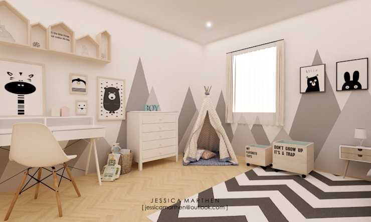 Kamar Tidur Anak Mr TD:  Kamar Bayi & Anak by JESSICA DESIGN STUDIO