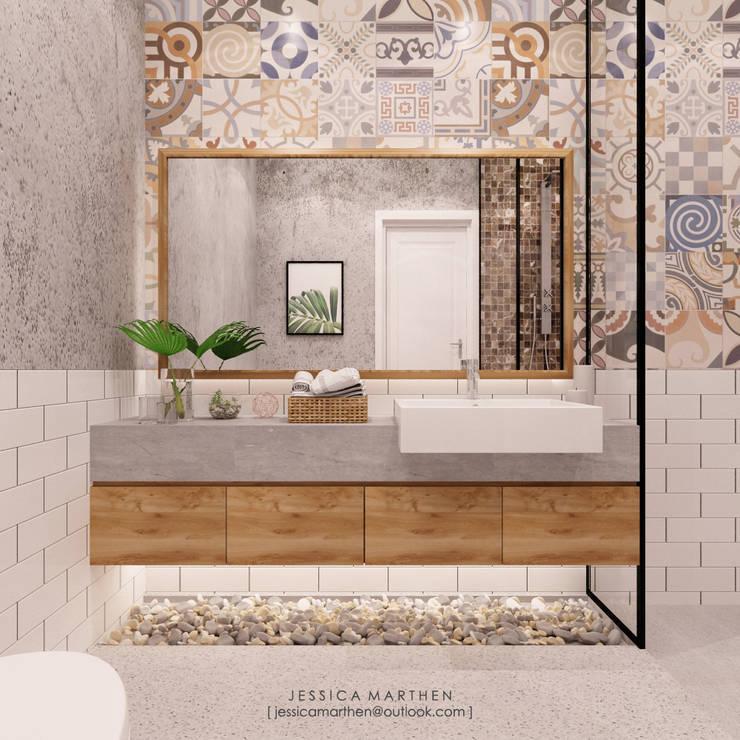 Villa Bali:  Kamar Mandi by JESSICA DESIGN STUDIO