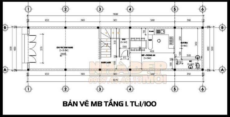 Bản vẽ phương án mặt bằng tầng 1:  Biệt thự by Công ty TNHH TKXD Nhà Đẹp Mới