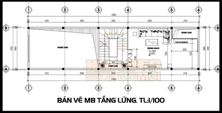 Bản vẽ phương án mặt bằng tầng lửng:  Biệt thự by Công ty TNHH TKXD Nhà Đẹp Mới
