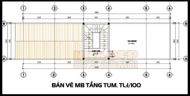 Bản vẽ phương án mặt bằng tầng tum mái:  Biệt thự by Công ty TNHH TKXD Nhà Đẹp Mới