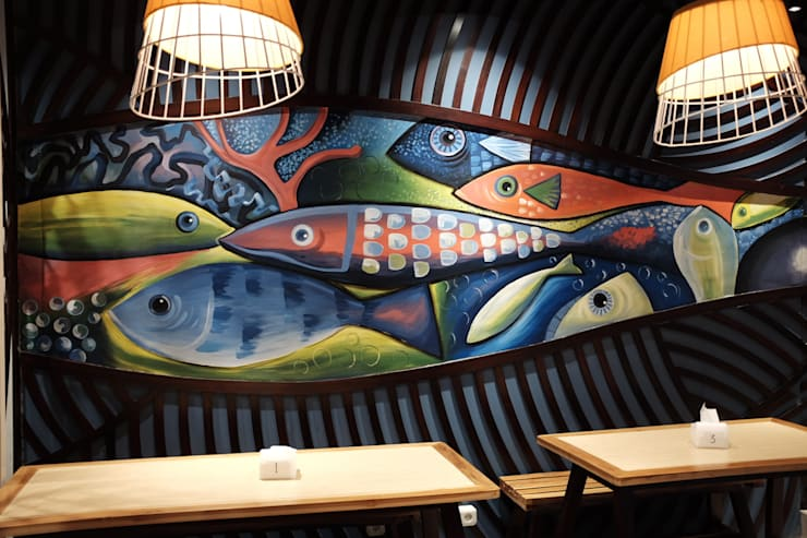 Wall mural:  Restoran by Kottagaris interior design consultant