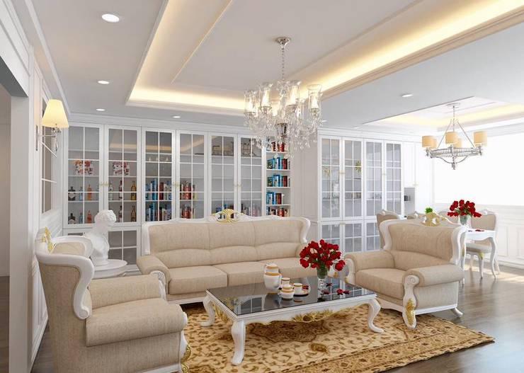 รีโนเวทห้องรับเเขกของบ้านคุณธนกร:   by Ms Interiors Design