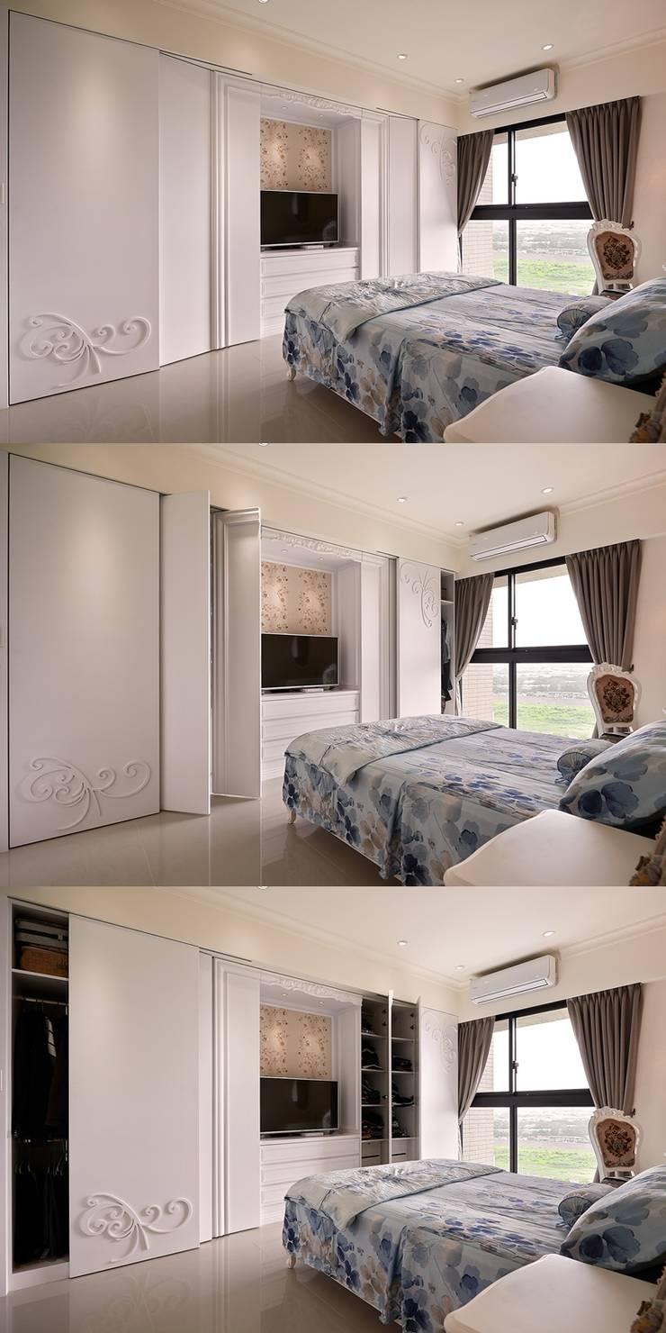 主臥衣櫃 開闔組圖:  臥室 by 趙玲室內設計
