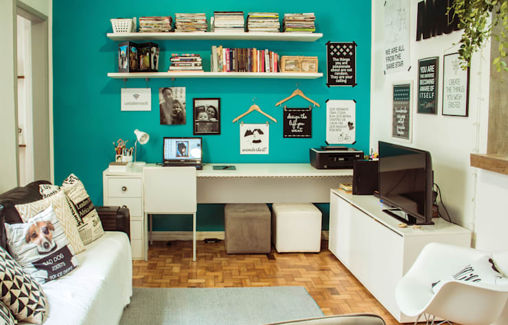 Estudios y oficinas de estilo ecléctico por INTERIOR - DECORAÇÃO EMOCIONAL