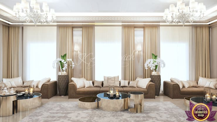 ​Living room  design in Nairobi from Katrina Antonovich:  Living room by Luxury Antonovich Design