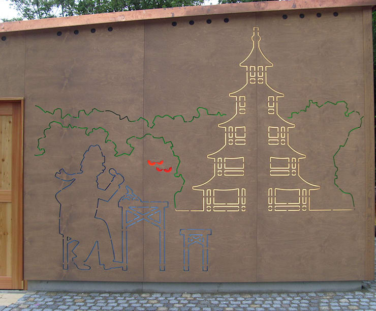 Chalés e casas de madeira  por Architekturbüro Michael Bidner , Moderno Madeira Efeito de madeira