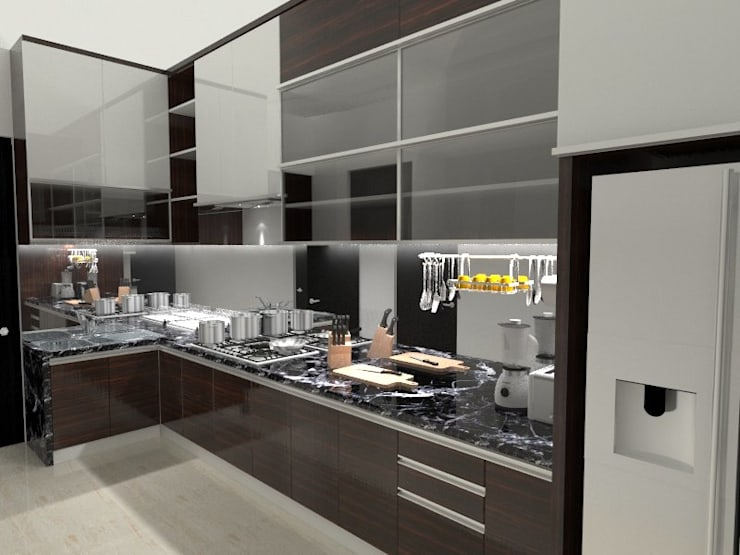 House at Batununggal Abadi:  Kitchen by Asera.Atelier