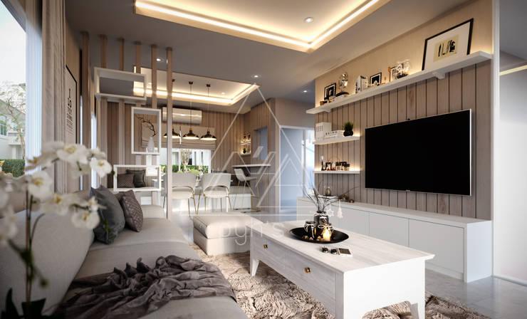 บ้านเดี่ยว Villagio Bangna:  ห้องนั่งเล่น by pyh's interior design studio