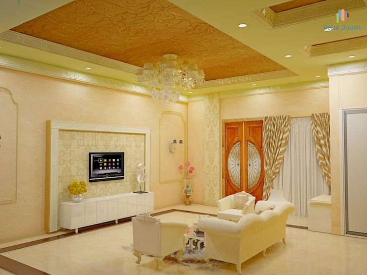 Independent Bungalow, JP Nagar—Mr.Raghu:  Living room by DECOR DREAMS