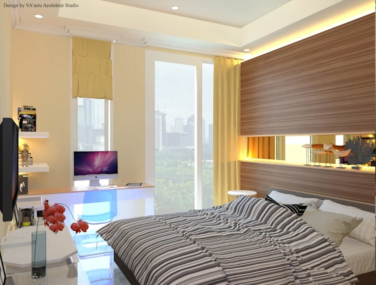 Guest Bedroom – Apartment Sudirman Area:  Kamar Tidur by Vaastu Arsitektur Studio