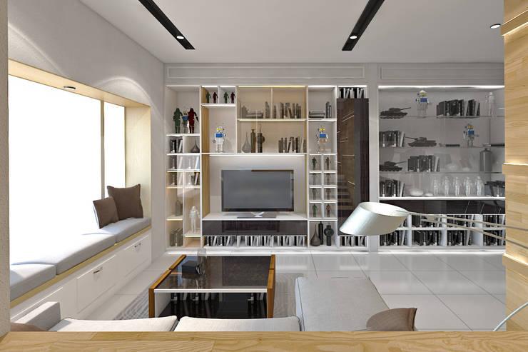 Living Room Area - Pantai Indah Kapuk:  Ruang Keluarga by SINAR JAYA DESIGN