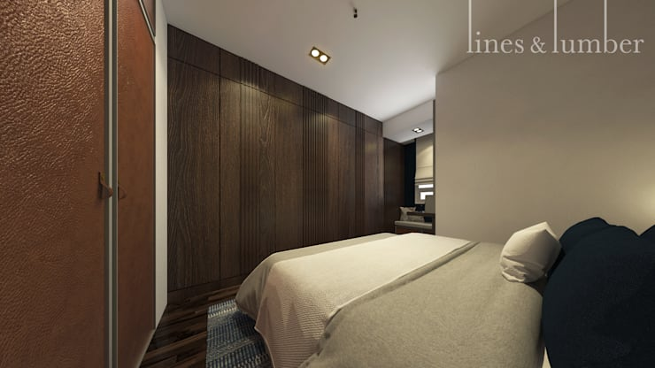 Wood Panelling di Kamar Tidur Master Kamar Tidur Gaya Rustic Oleh Lines & Lumber Rustic
