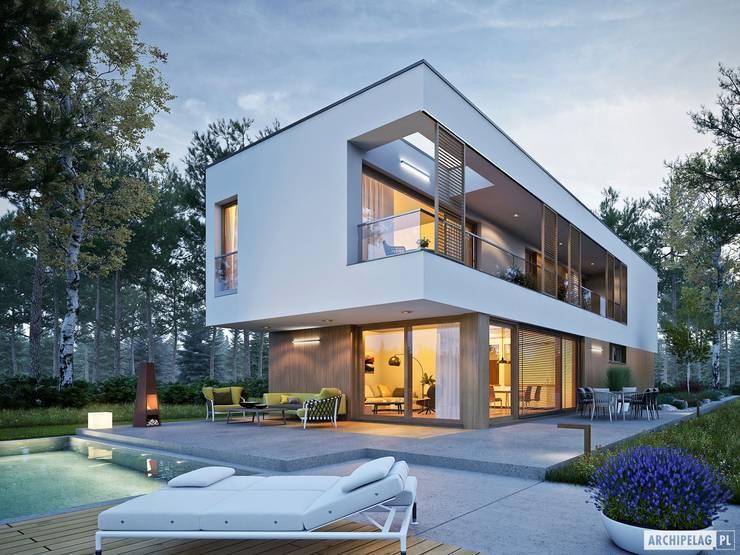 EX 17 W2 - nowoczesny dom z płaskim dachem : styl , w kategorii Domy zaprojektowany przez Pracownia Projektowa ARCHIPELAG