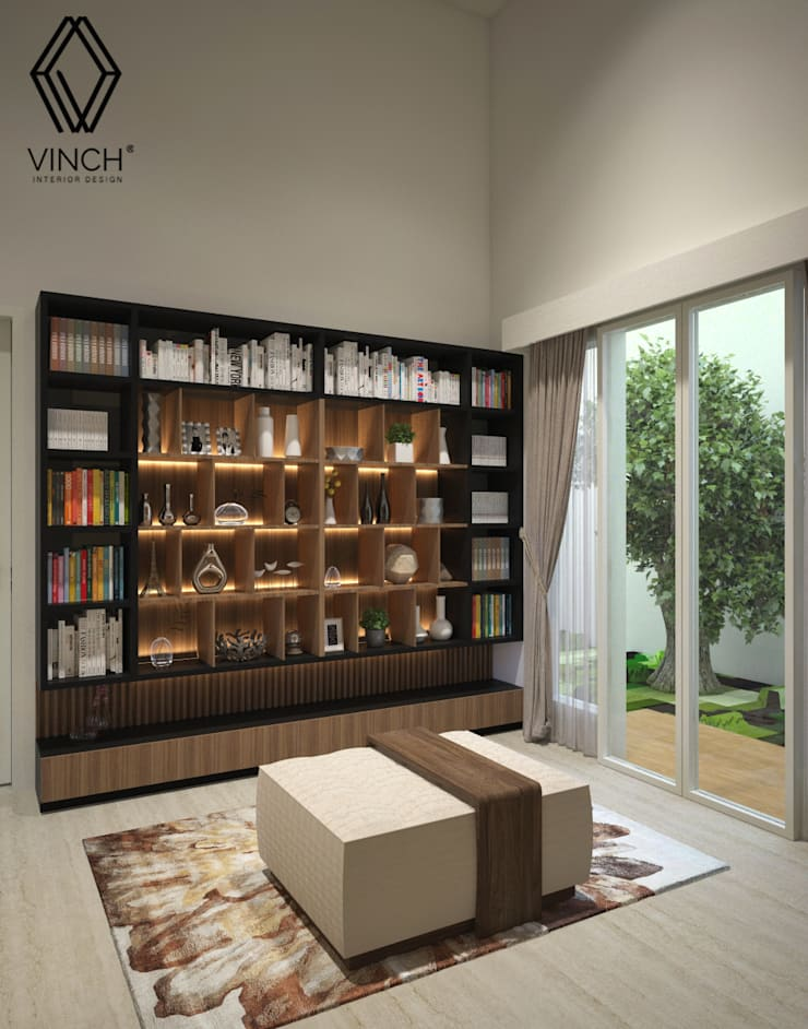 Library Area:  Ruang Keluarga by Vinch Interior