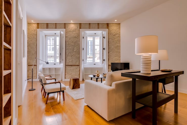 Apartamento Rua Boavista / Lisboa - Apartment in Rua Boavista / Lisbon: Salas de estar  por Ivo Santos Multimédia