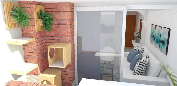 Zona de juegos para gatos : Jardines frontales de estilo  por Naromi  Design