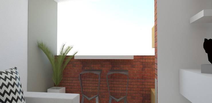 balcón zona de juegos gatos : Jardines frontales de estilo  por Naromi  Design