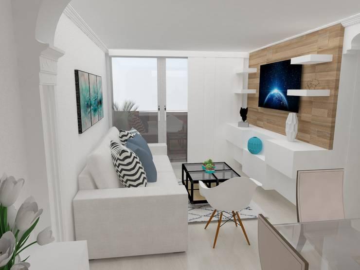 sala : Salas multimedia de estilo  por Naromi  Design