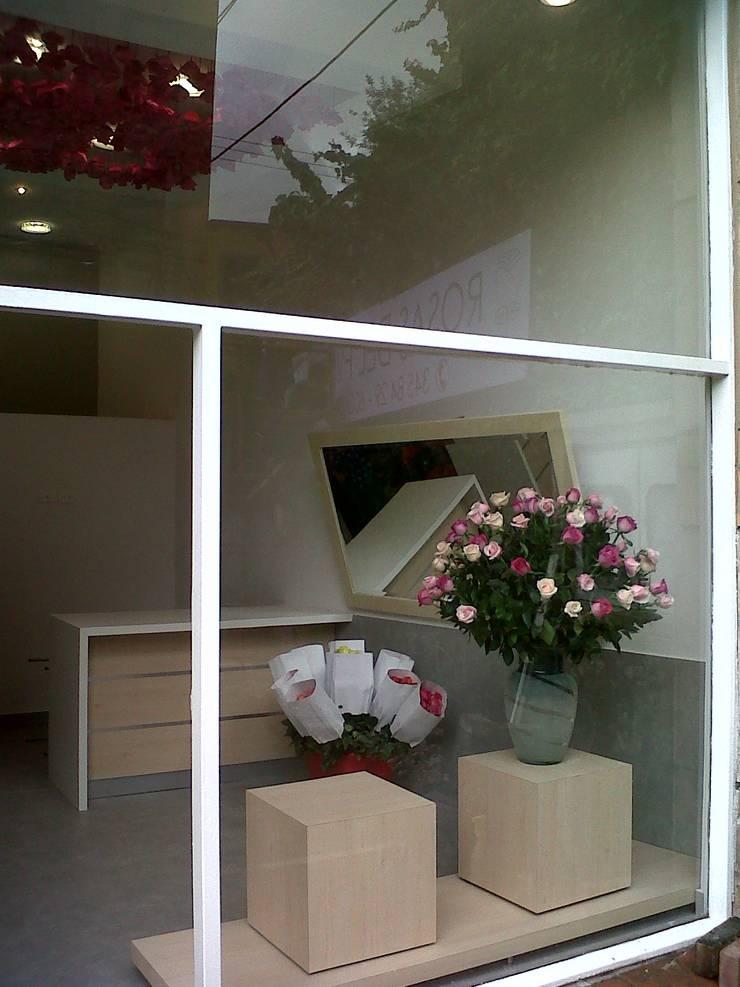 Vitrina y fachada: Oficinas y Tiendas de estilo  por Obras Son Amores, Moderno Vidrio
