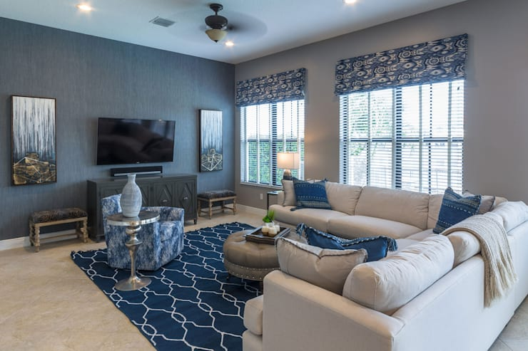 Blue and White Family Room:  Living room by Lux Design Associates