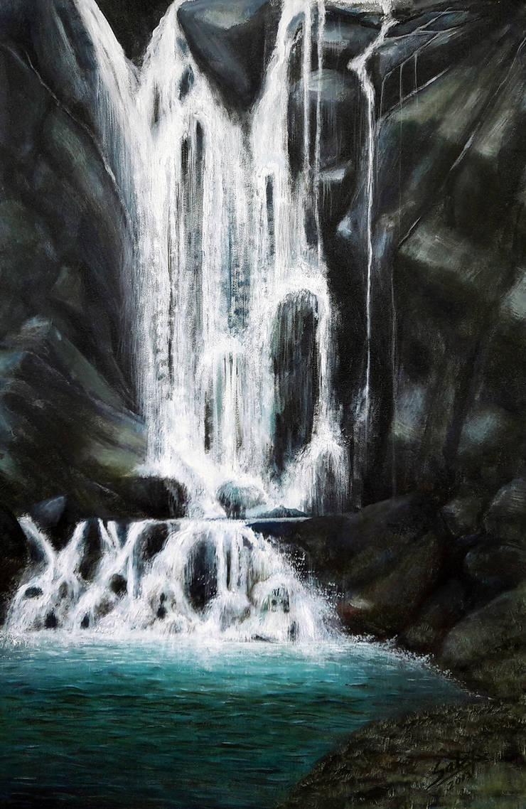Waterfall:  Artwork by Indian Art Ideas