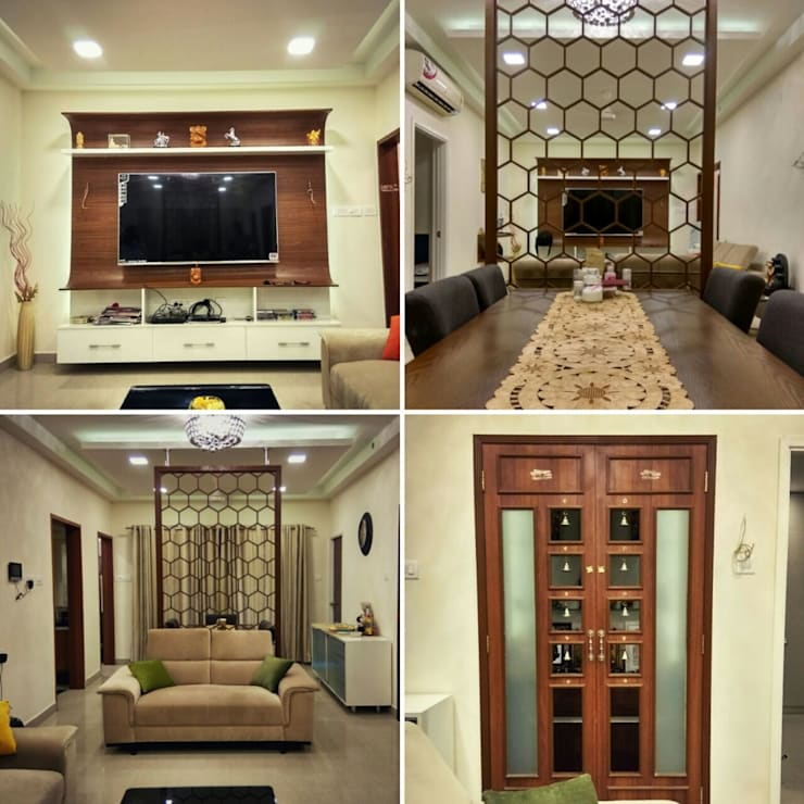 Living Room and Pooja Room:  Living room by WOODLIFE INTERIOR PRIVATE LTD