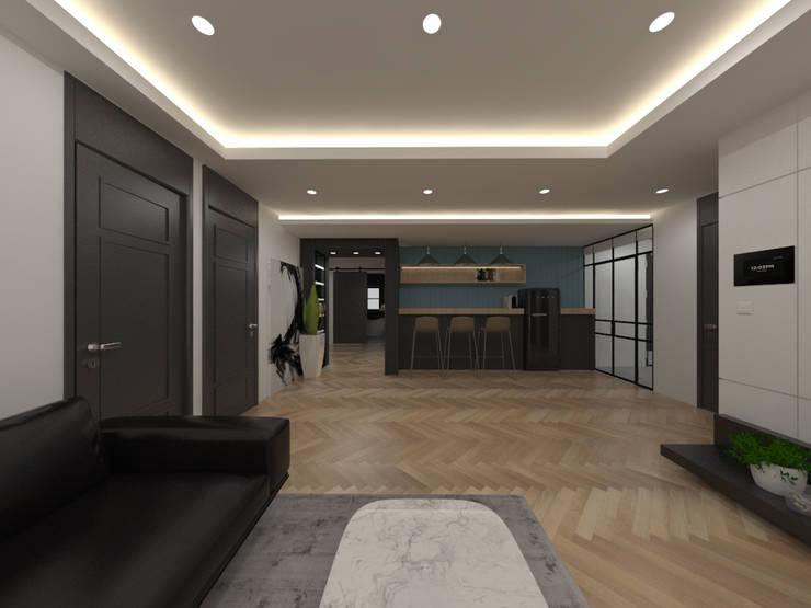두공간을-- 한공간으로 인테리어 디자인: 디자인 이업의  거실,모던 우드 + 플라스틱
