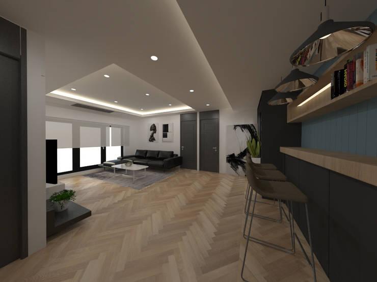 두공간을-- 한공간으로 인테리어 디자인: 디자인 이업의  거실,모던 솔리드 우드 멀티 컬러