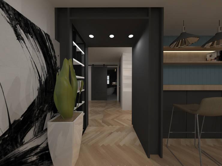 두공간을-- 한공간으로 인테리어 디자인: 디자인 이업의  실내 정원,모던 금속