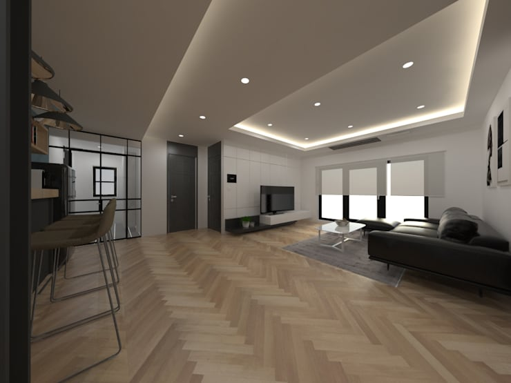 두공간을-- 한공간으로 인테리어 디자인: 디자인 이업의  거실,모던 우드 우드 그레인