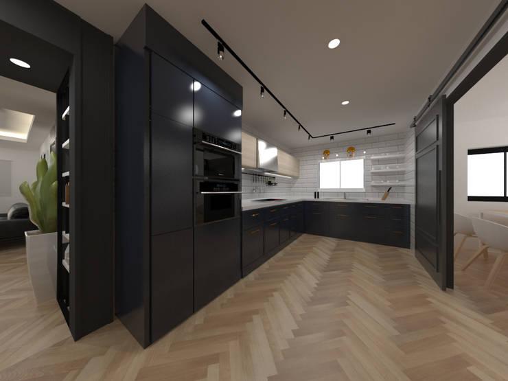 두공간을-- 한공간으로 인테리어 디자인: 디자인 이업의  주방,모던 대리석
