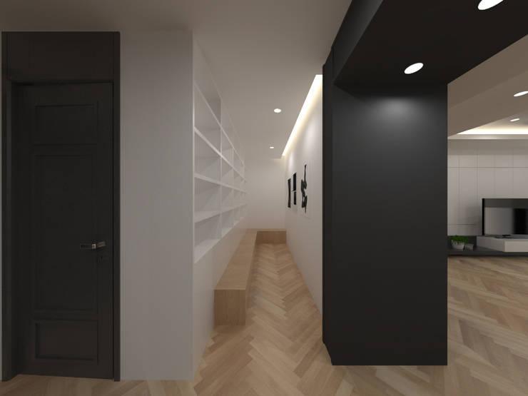두공간을-- 한공간으로 인테리어 디자인: 디자인 이업의  서재 & 사무실,모던 우드 + 플라스틱