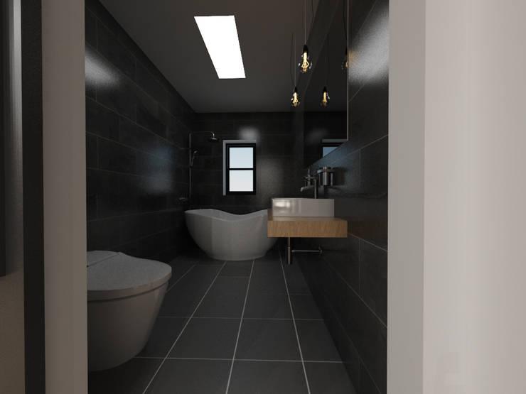 두공간을-- 한공간으로 인테리어 디자인: 디자인 이업의  욕실,모던 세라믹