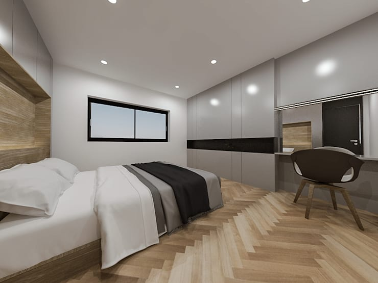 두공간을-- 한공간으로 인테리어 디자인: 디자인 이업의  방,모던 솔리드 우드 멀티 컬러