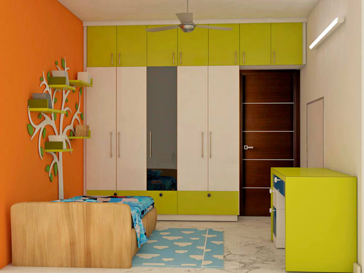 Mantri Webcity, Duplex 3 BHK - Mr. Vishal:  Nursery/kid's room by DECOR DREAMS,Modern
