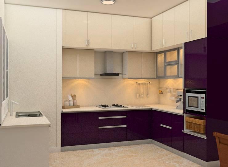 Mantri Webcity, Duplex 3 BHK—Mr. Vishal:  Built-in kitchens by DECOR DREAMS,Modern
