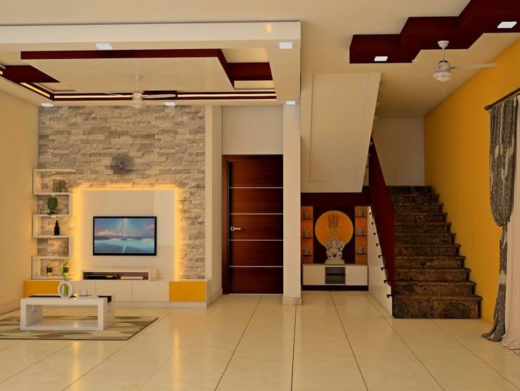 Mantri Webcity, Duplex 3 BHK—Mr. Vishal:  Living room by DECOR DREAMS,Modern
