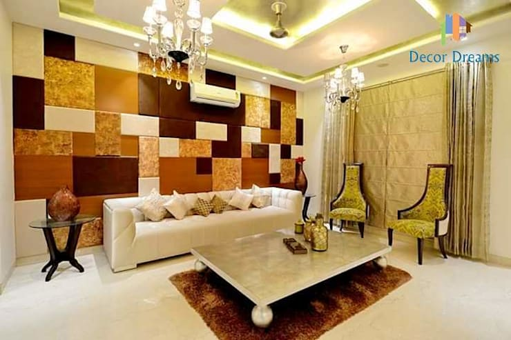Independent Bungalow - Mr. Modi:  Living room by DECOR DREAMS