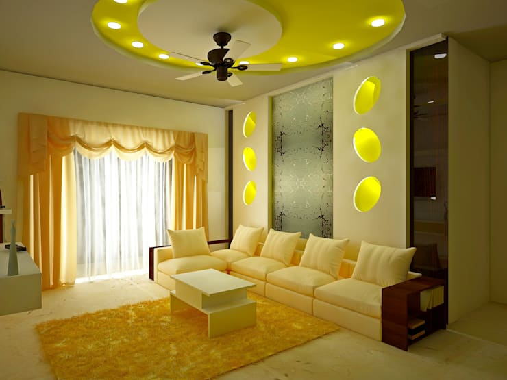 SJR Watermark, 3 BHK - Mr. Ankit:  Living room by DECOR DREAMS