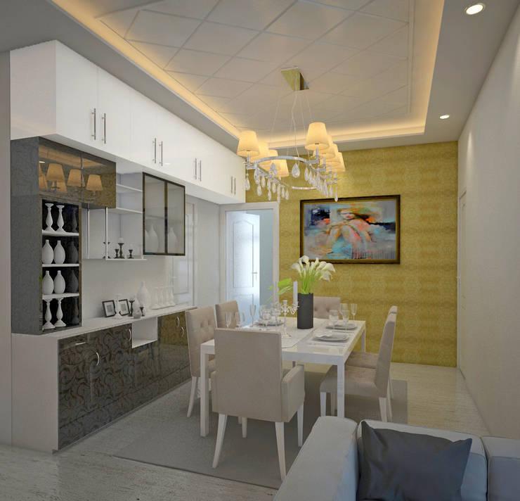 SNN Raj Serenity, 2 BHK - Mr. Deepak: tropical Dining room by DECOR DREAMS