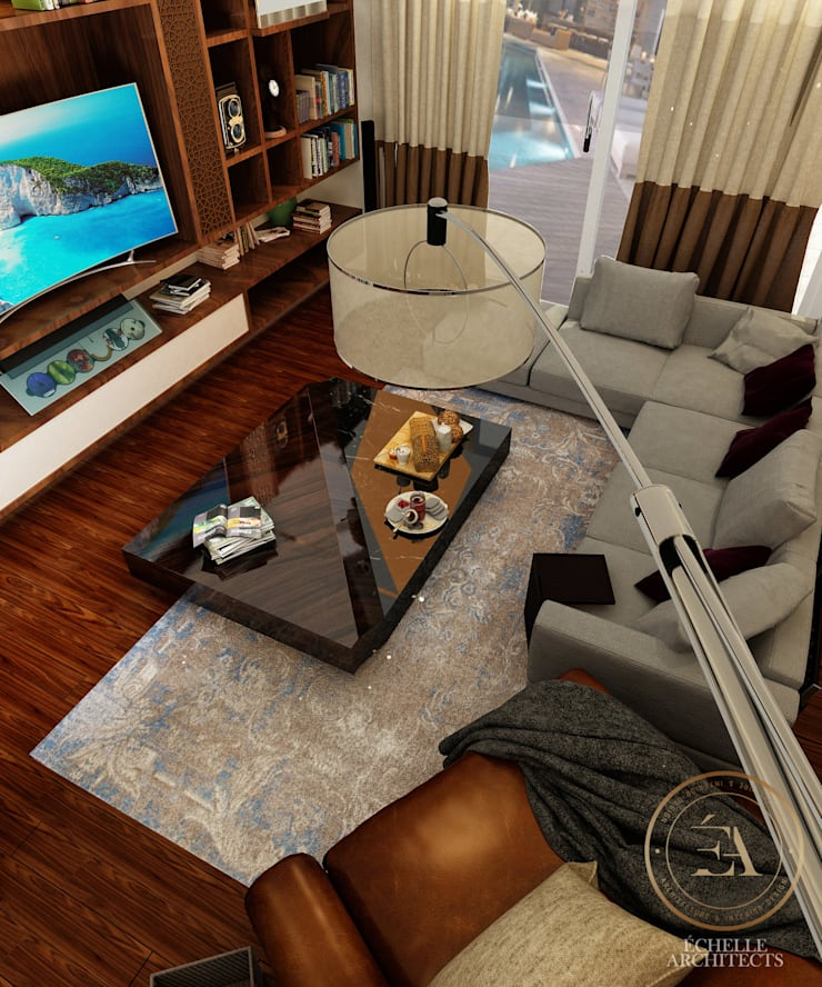 Living Room:   تنفيذ Echelle Architects,