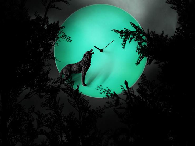 Haoshi Night Glow Wolf Moon Clock:  Bedroom by Just For Clocks