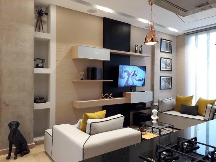 Diseño interior apartamento de soltero: Salas de estilo  por ecoexteriores